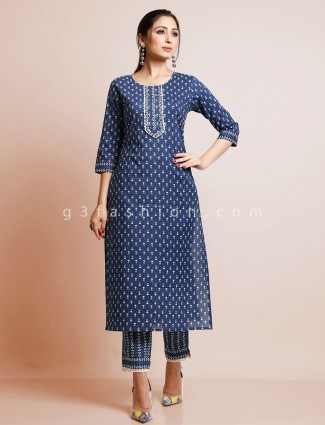 Navy printed cotton suit for festive session