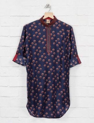 Navy printed kurta suit in cotton fabric