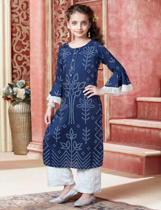 Navy printed party wear palazzo suit