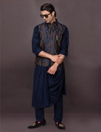 Navy raw silk indo western waistcoat set for mens