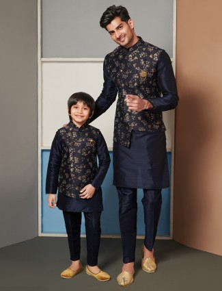 Navy raw silk waistcoat set for father and son
