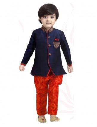 Navy red silk indo western