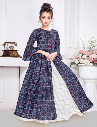 Navy satin silk cotton gown for party wear