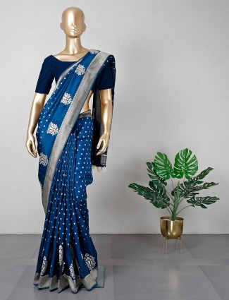 Navy silk saree for wedding sessions
