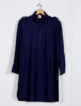 Navy solid cotton boys pathani suit