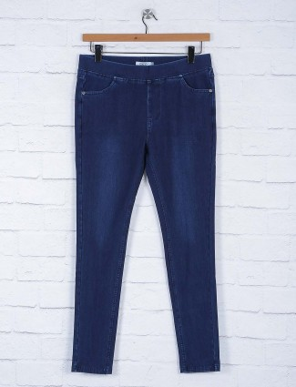 Navy solid cotton skinny fit jeggings
