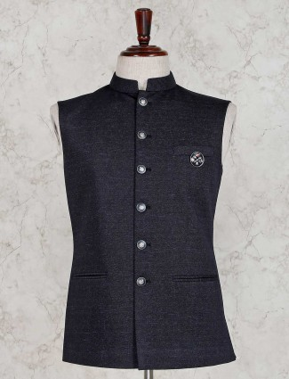 Navy solid party wear terry rayon waistcoat