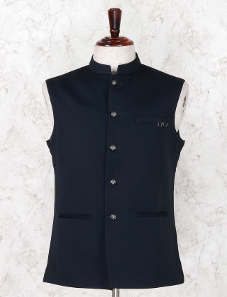 Navy solid terry rayon festive function waistcoat