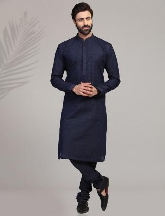 Navy thread weaving kurta suit for festive