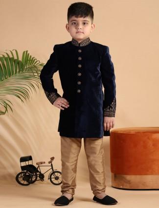 Navy velvet wedding wear indo western for boys