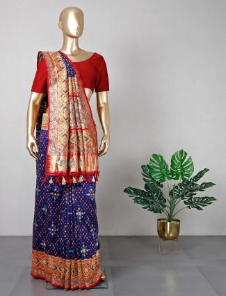 Navy wedding wear saree in cotton silk