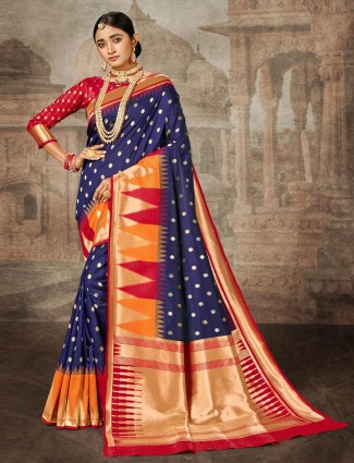 Navy zari weaved wedding saree