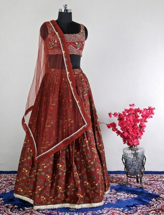 Net brown wedding wear lehenga choli