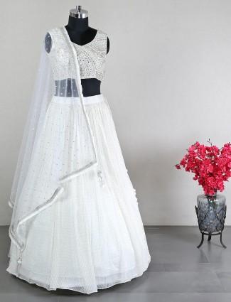 Net cream lehenga choli for wedding