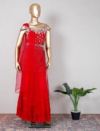 Net magenta sharara suit for wedding