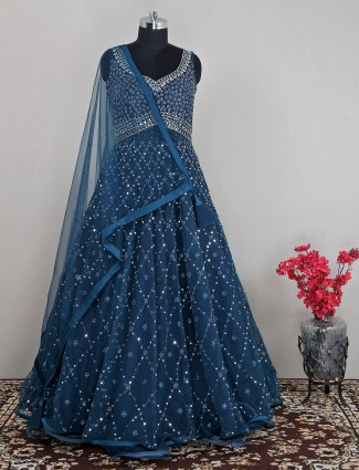 Net navy wedding occasions gown
