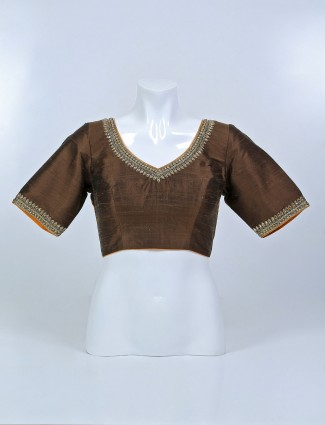 New-arrived brown hue raw silk blouse for women