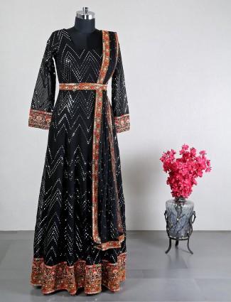 New black georgette wedding wear anarkali suit
