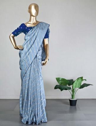 New blue dola silk wedding saree