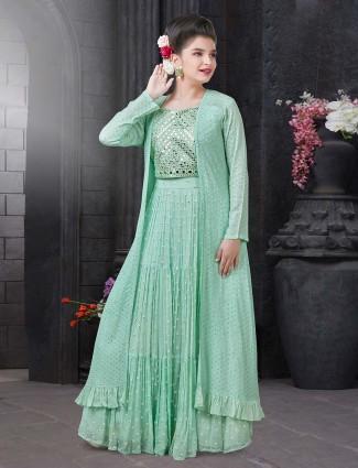 New green lehenga choli for girls