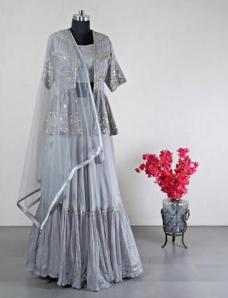 New grey georgette wedding special lehenga choli