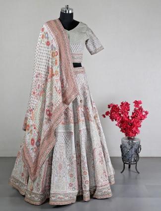 New grey silk wedding wear lehenga choli