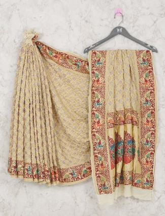 New style beige colored bandhej saree