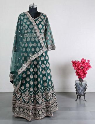 New wedding wear green anarkali suit
