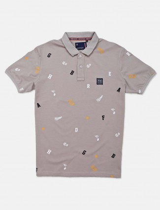 nmRiver Blue printed grey polo neck t-shirt