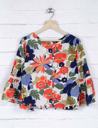 No Doubt printed cotton fabric top
