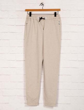 Nostrum cotton casual wear solid beige joggers