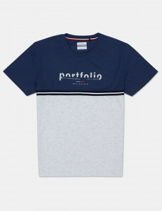Octave casual wear white and navy cotton t-shirt