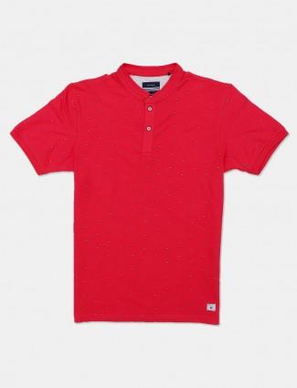 Octave magenta printed slim fit t-shirt
