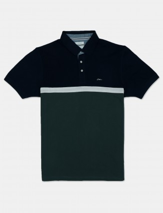 Octave presented green and navy solid t-shirt for mens