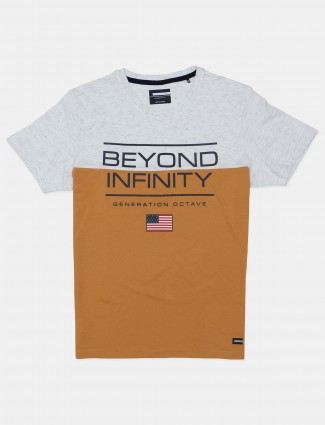 Octave printed mustard yellow cotton casual t-shirt