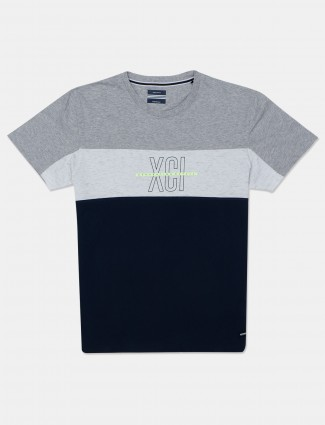 Octave printed navy cotton t-shirt