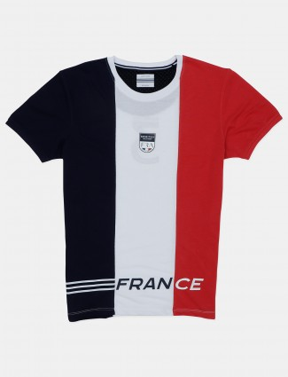 Octave solid navy and white cotton t-shirt