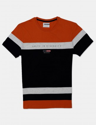 Octave solid orange and grey printed cotton t-shirt