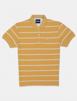Octave yellow stripe cotton casual polo men t-shirt