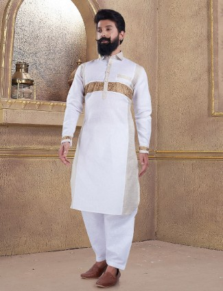 Off white color pathani suit