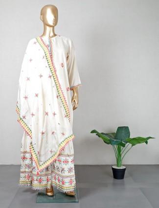 Off white designer salwar kameez in cotton