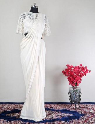 Off white net wedding ready to wear saree