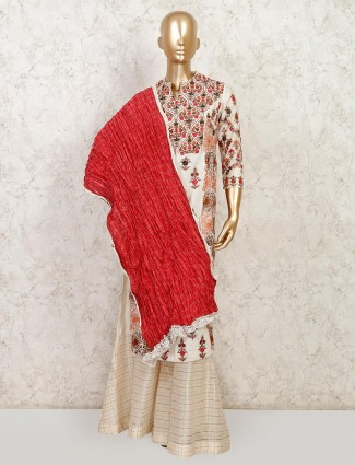Off white raw silk palazzo salwar suit