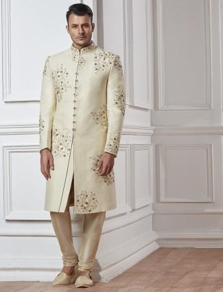 Off white silk designer sherwani
