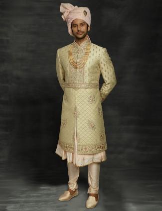 Gold silk wedding mens sherwani