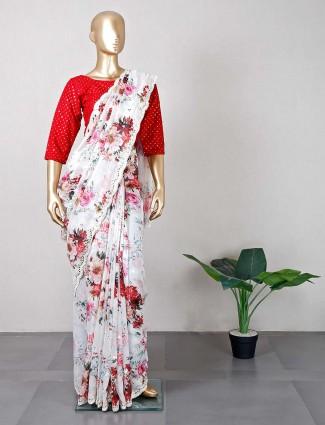 Off white wedding tissue silk saree