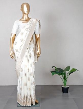 Off white wedding wear designer silk saree