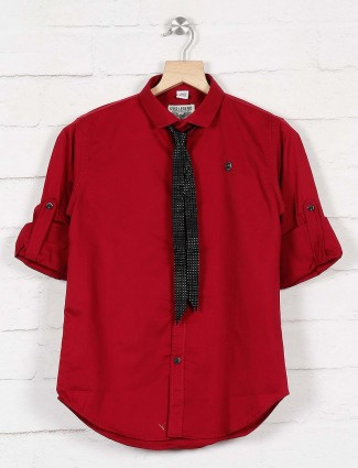 Okids red solid party wear shirt