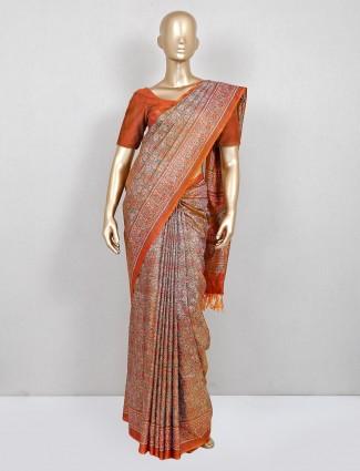 Olive and orange cotton festive wear saree