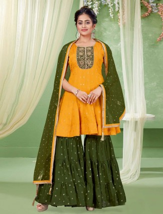 Olive and yellow color georgette sharara suit